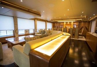 Main salon on motor yacht SERENITY