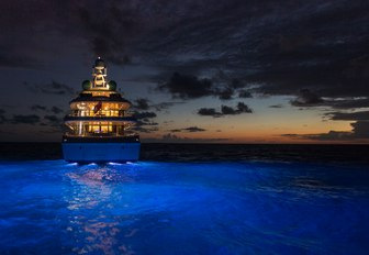 Superyacht BACA light up on water at night