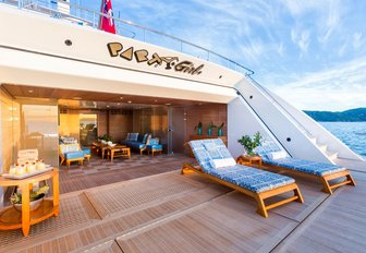 beach club lounge area on superyacht party girl