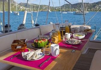 breakfast is served in the cockpit aboard charter yacht JUPITER