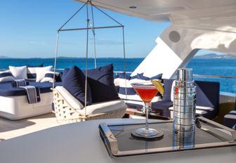 cocktail on sundeck of superyacht