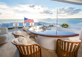 The bar featured on the sundeck of luxury yacht USHER