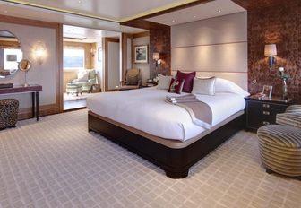 The master cabin of luxury yacht 'Lady Britt'