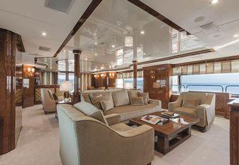 Main salon on luxury yacht CHECKMATE