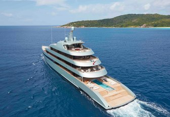 arial shot of luxury yacht Savanah with pool on deck