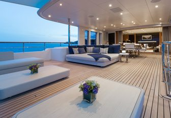 expansive upper deck aft with lots of lounging options on board luxury yacht GO