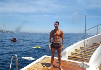 Football legend Cristiano Ronaldo on yacht