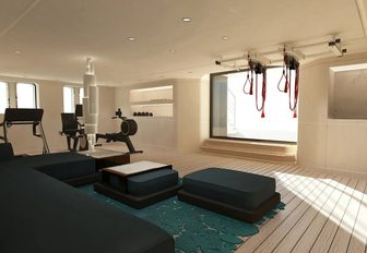 the well appointed gym in motor yacht SOARING