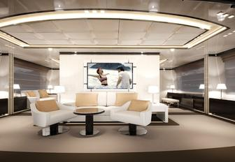 seating area in the interior of luxury yacht O'Mathilde