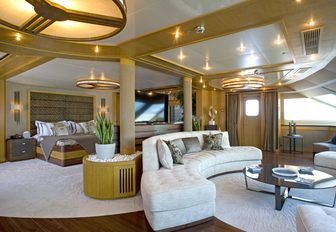 expansive master suite with seating area aboard motor yacht 'Indian Empress'