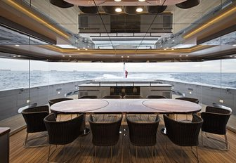 winter garden seats up to 20 guests for dinner on board superyacht SILVER FAST