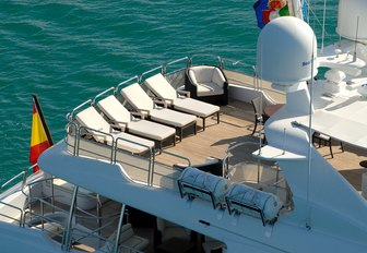 sun loungers lined up on the sundeck of motor yacht 'Elena Nueve'