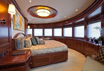 master suite with panoramic vistas aboard luxury yacht SOVEREIGN