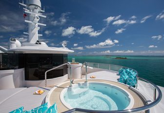 Sun deck with views over the South Pacific on board superyacht DREAM