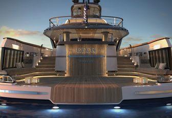 the spacious swim platform of superyacht geco