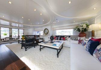 The salon space on board charter yacht BINA