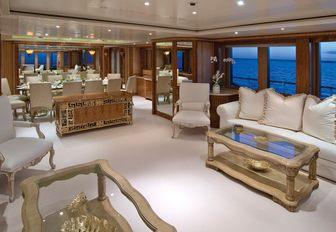 Salon on luxury charter yacht after refit