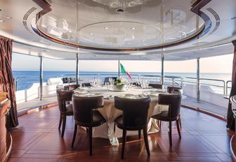 dining with 180-degree views on board luxury yacht CHECKMATE