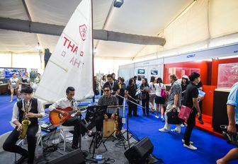 jazz band performs in the aisles at the Thailand Yacht Show 2016