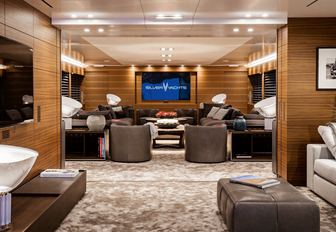 timeless, masculine and cosy main salon aboard charter yacht SILVER FAST