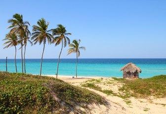 Caribbean beach Playa Megano in Playas del Este, Cuba