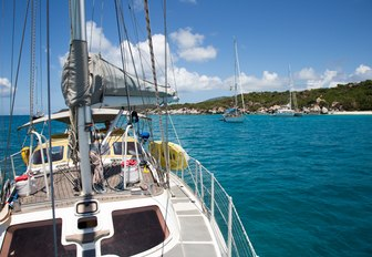 yacht sailing on the calm waters of the British Virgin Islands