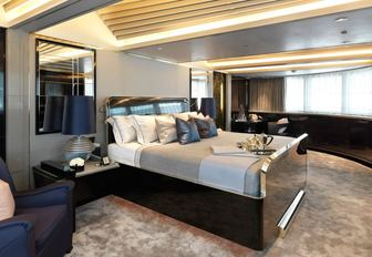 master suite with panoramic views on board charter yacht SEALYON