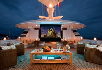 Outdoor theater on the sundeck of luxury yacht 'Lady Britt'