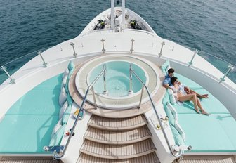 the best place to unwind on charter yacht ramble on rose is on her spacious sundeck specifically on the forward sunpads that surround her intimate jacuzzi