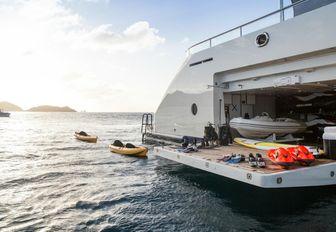 Tenders stored in the garage on board superyacht 'Grace E'