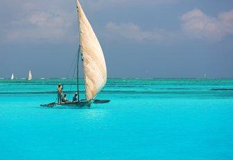 Arabian dhow off the coast of thanda island
