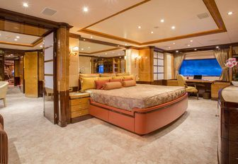 timeless styling in master suite aboard luxury yacht DIANE