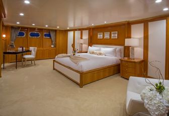 The master cabin on board luxury yacht Lady Victoria