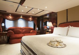 The master cabin featured on board luxury yacht 'Ionian Princess'