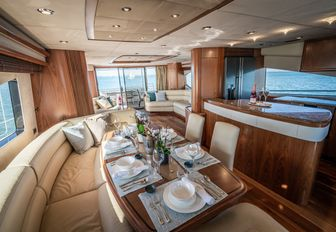 galley and dining area on motor yacht chess