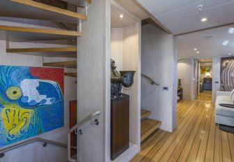 The contemporary furnishings and fixtures inside superyacht AKIKO
