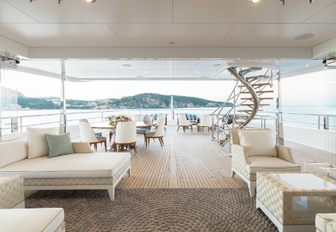different sunning and seating areas on deck aboard charter yacht JOY