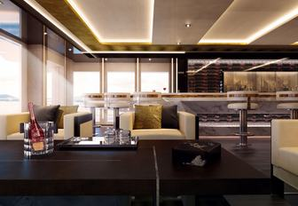 bar and seating area in the skylounge aboard motor yacht Illusion Plus
