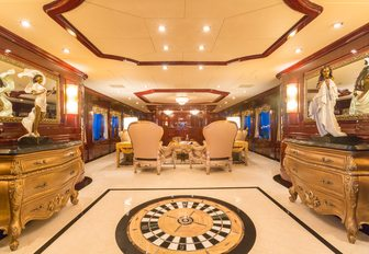 The formal and elegant interior of charter yacht Casino Royale