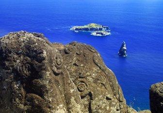 Bird Man Island and Polynesian carvings at Rapa Nui, Easter Island