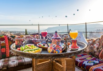 Tea and coffee is very important part of turkish culture charter guests can visit many fine cafes in the country where they can sample the flavours of the east med and also get breathtaking views of hot air balloons flying overhead