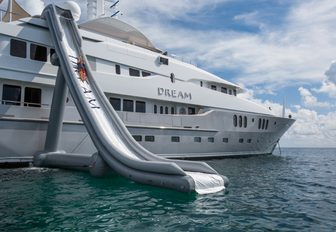 Charter guest will love the waterslide on motor yacht Dream