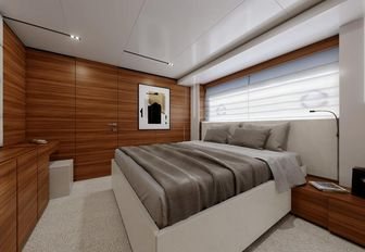 the spacious and comfortable master cabin in charter yacht penelope
