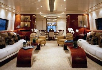 mahogany panelled main salon of luxury yacht 'Costa Magna'