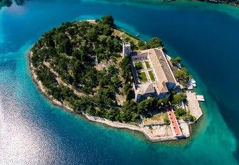 Monastery on island of Mljet in Croatia