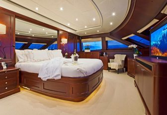 master suite with 180-degree views aboard motor yacht 'Pure Bliss'