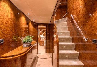 The staircase of luxury yacht Ocean Glass