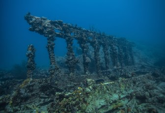 shipwreck of the RMS Rhone, one of the best diving sites in the British Virgin Islands near Salt Island