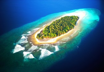 an overhead shot of one of the 1,200 islands that make up the Maldives