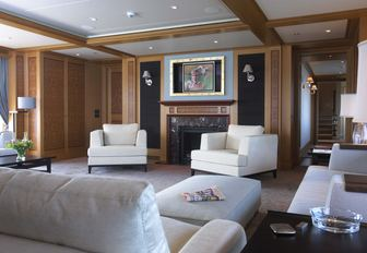the stylish and classic lounge inside charter yacht iutpoia